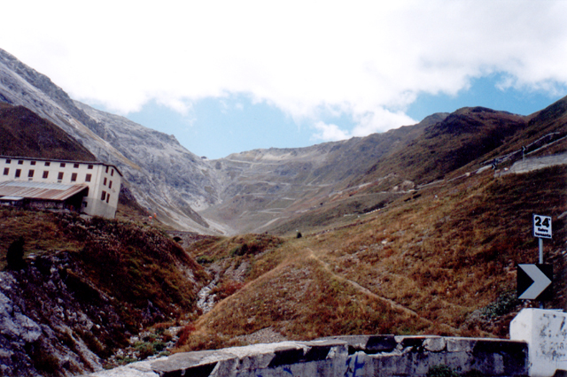 Looking up from stelvio switchback number 24
