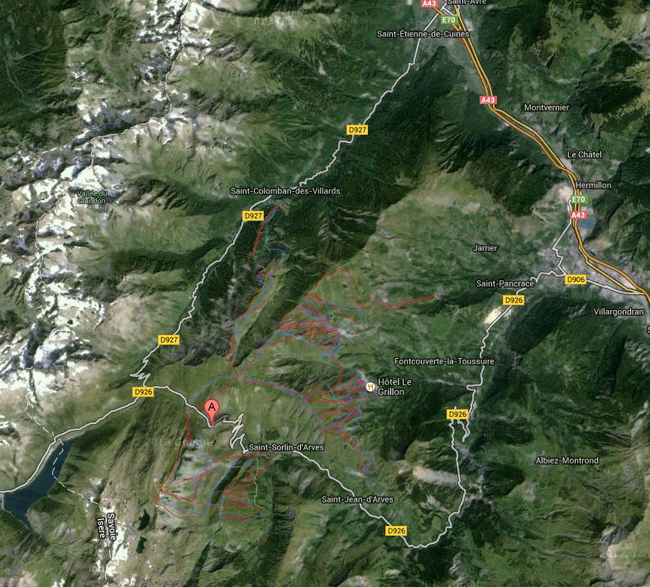 Map of the Col de Croix de Fer