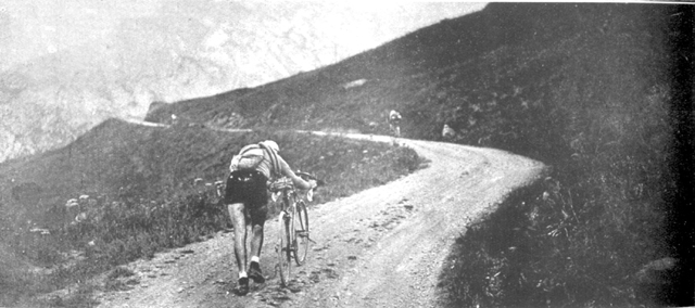 Leon Scieur pushes his bike up the Galibier in 1921