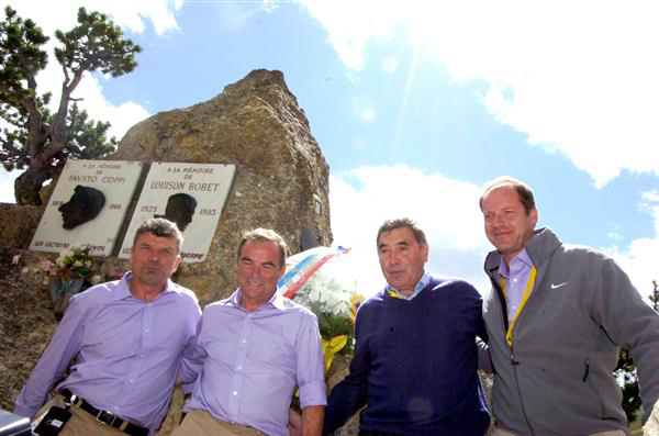 Thevenet, Hinault, Marckx and Prdhomme at the Coppi-Bobet monument