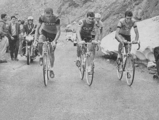 Motta, Poulidor and Gimondi on the Toumalet in 1965