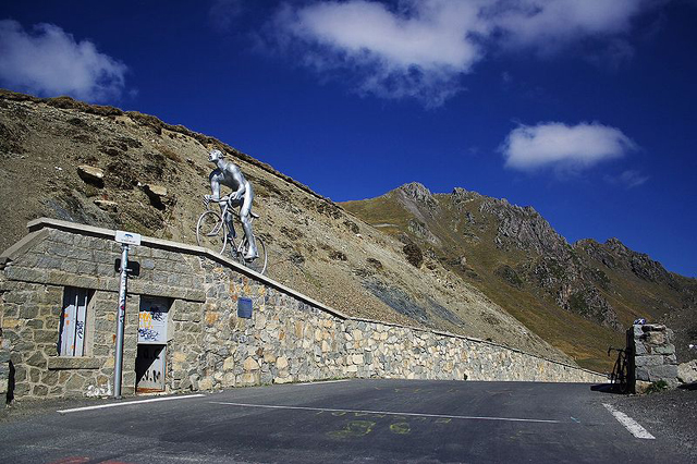 Octave Lapize memeorial at the top of the Tourmalet