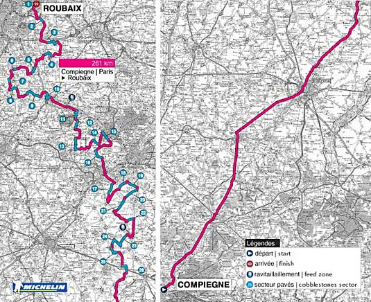 Paris-Roubaix 2002 route map