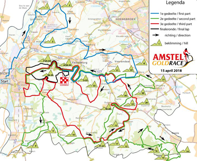 2018 Amstel Gold Race map