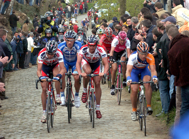 The bunch climbs the Old Kwaremont