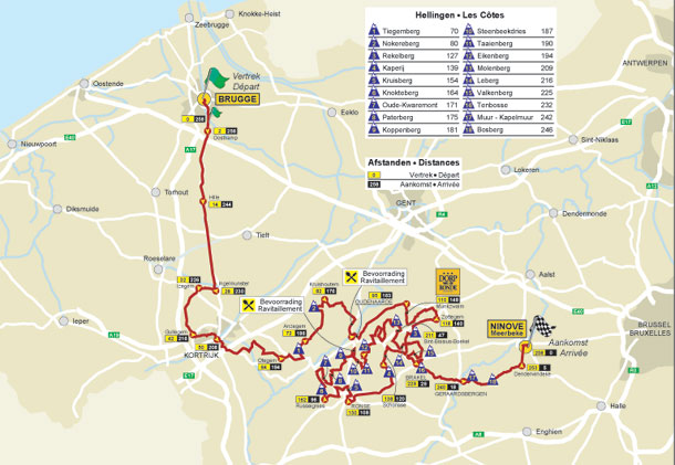 2011 Flanders route map
