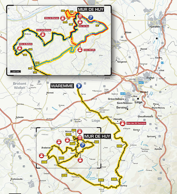 2015 Fleche Wallonne map