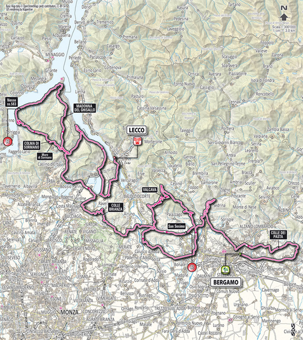 2012 Tour of  Lombardy map