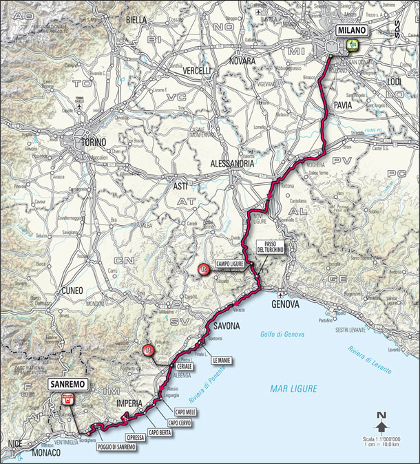 2011 Milan-San Remo route map