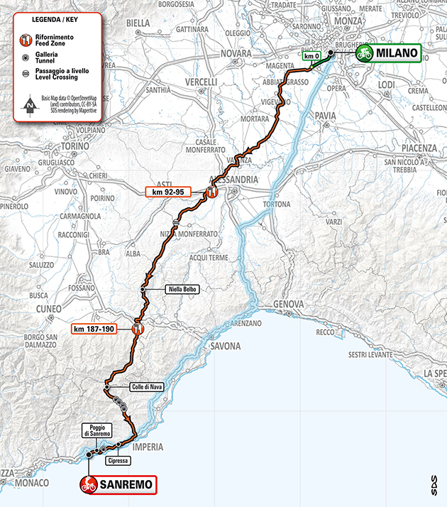 2020 Milan San Remo Map