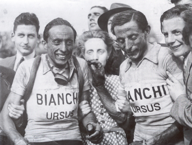 Serse and Fausto Coppi after the 1949 Paris-Roubaix