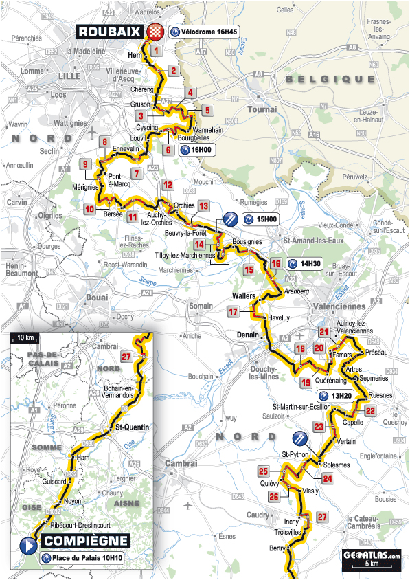 2012 Paris-Roubaix map