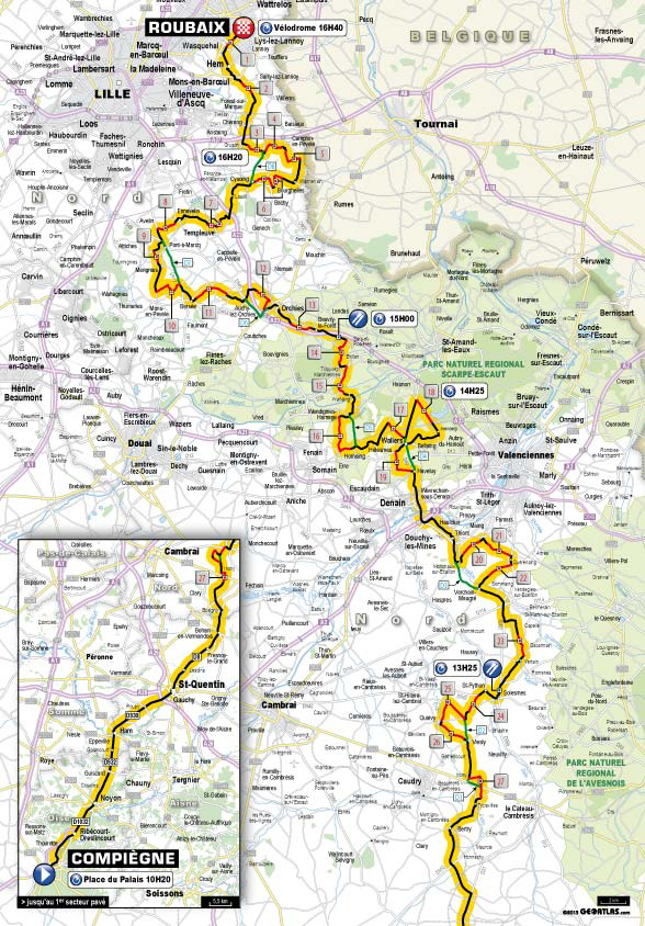 2013 Paris-Roubaix map