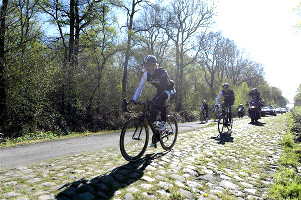 Fabvian Cancellara trains in the Arenberg Forest