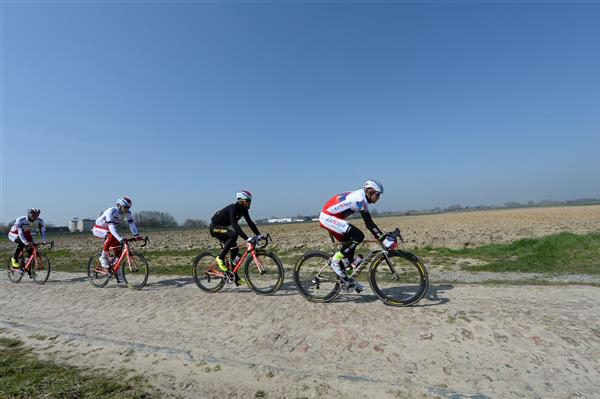 Katusha riders Alexander Kristoff and LKuca Paolini on the Orchies stones