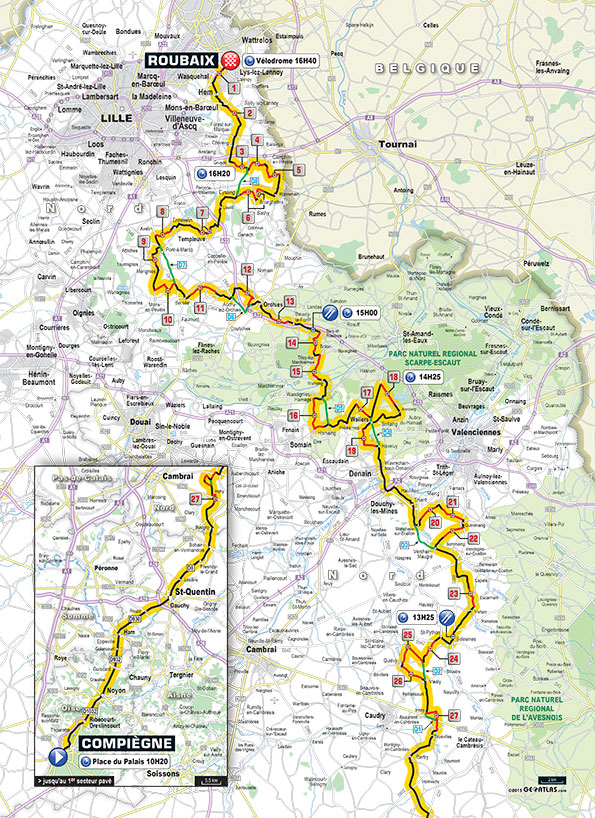 2015 Paris-Roubaix course map