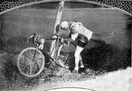 Giovanni Brunero works on his bike