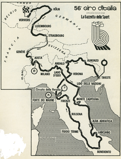 1973 Giro d'Italia course map