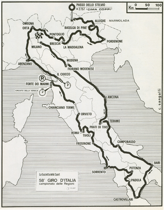 1975 Giro route map