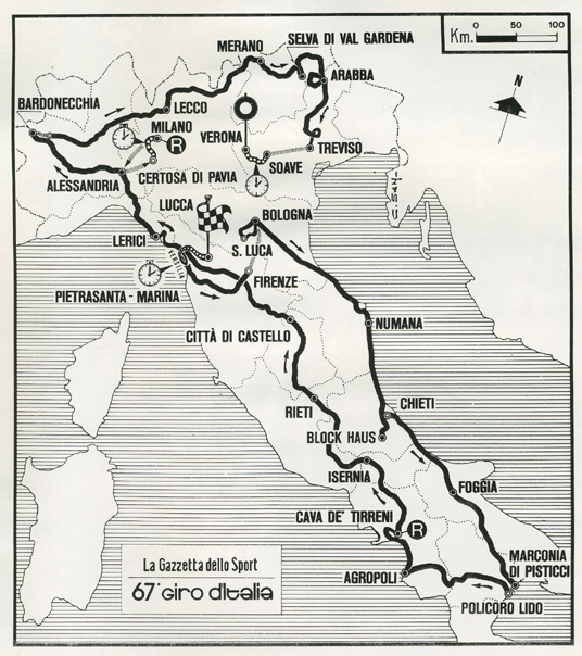1984 Giro d'Italia race map