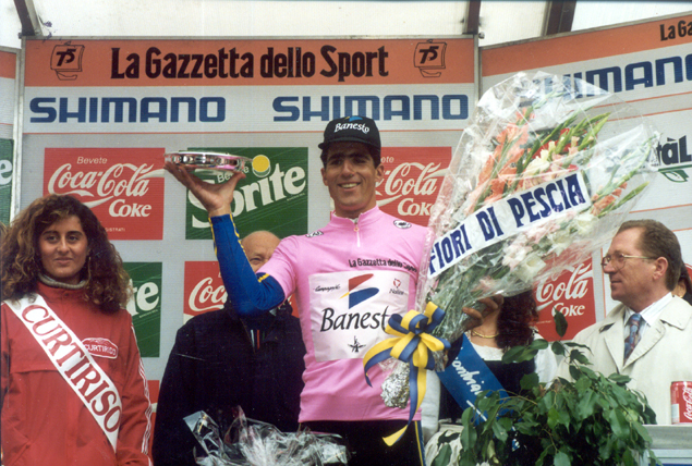 Miguel Indurain after stage three in the pink jersey