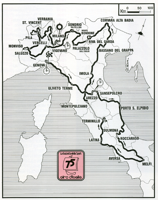Map of the 1992 Giro d'Italia