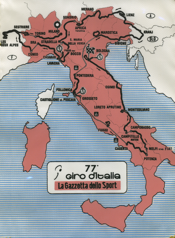 map of the 1994 Giro d'Italia