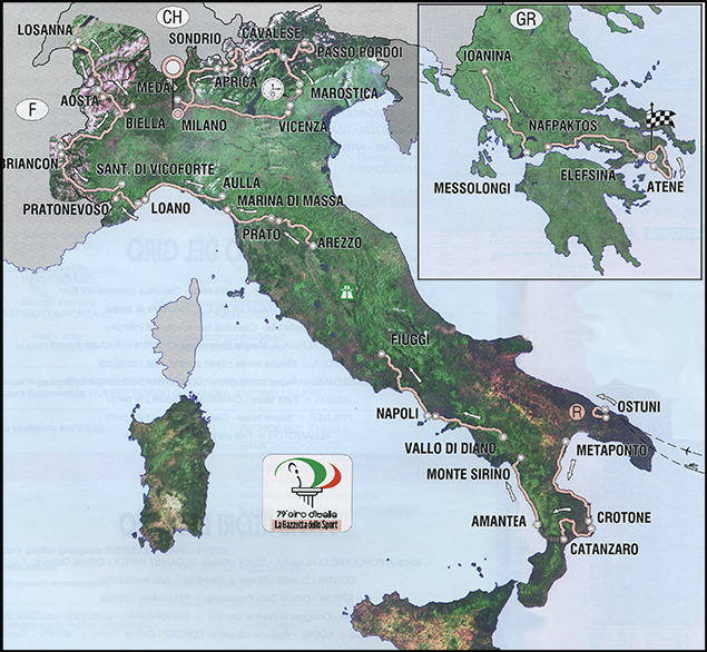 map of 1996 Giro d'Italia
