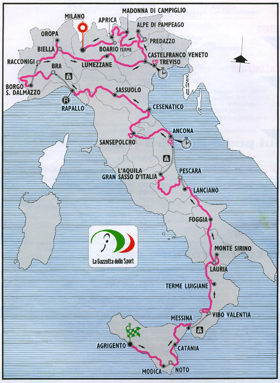 Map of the 1999 Giro d'Italia