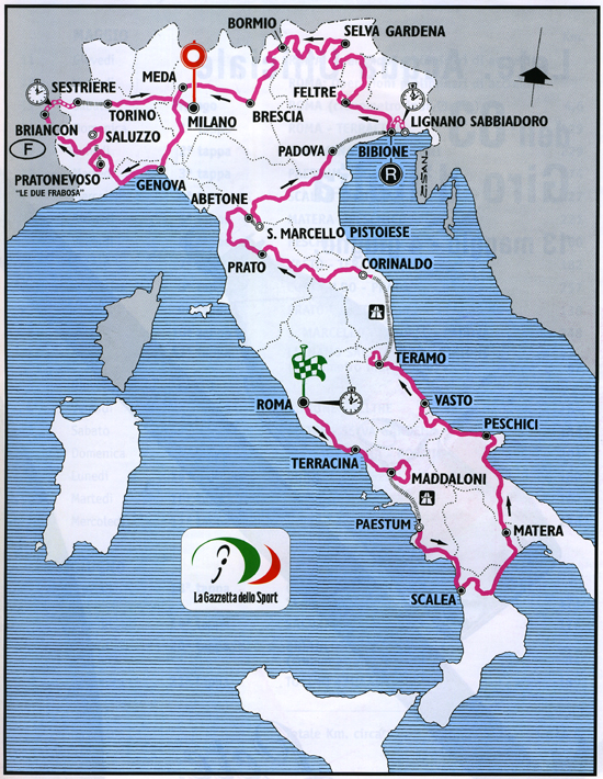 map of 2000 Giro d'Italia