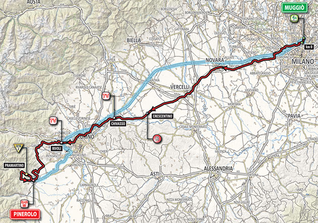Giro stage 18 map