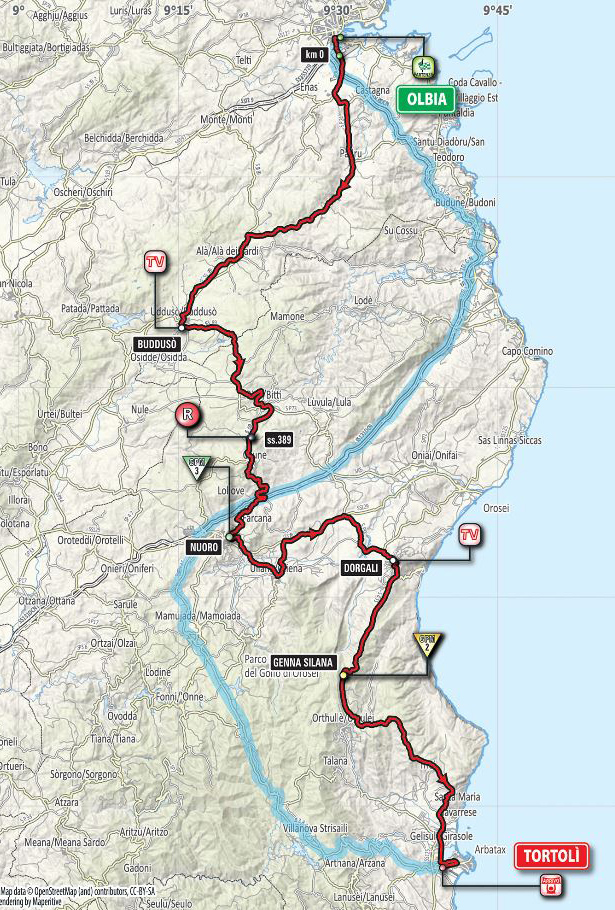 Giro stage 2 map