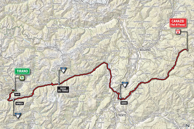 Giro stage 17 map