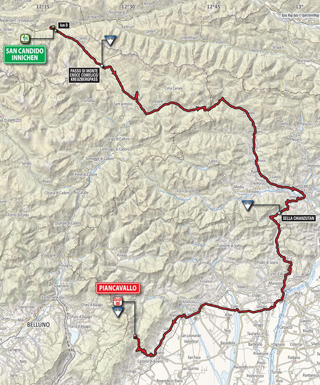 Giro stage 19 map