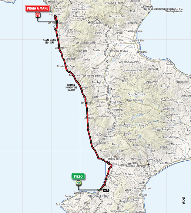 2018 Giro d'Italia stage 7 map