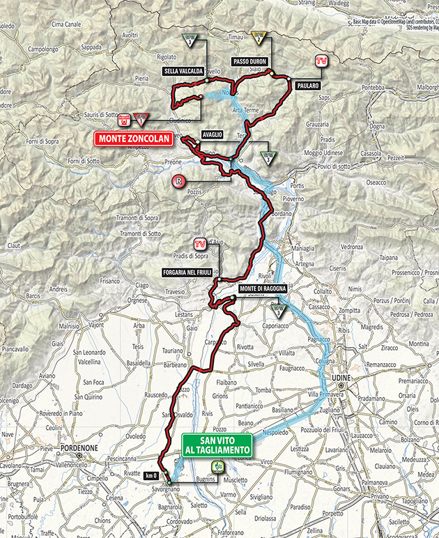 Giro stage 14 map