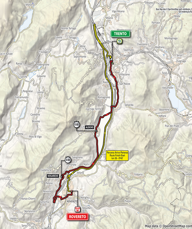 Giro d'Italia stage 16 map