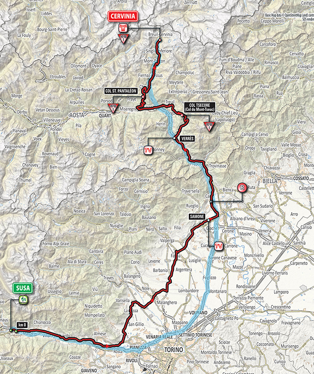 Giro stage 20 map