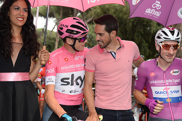 Alberto Contador talks to chris froome