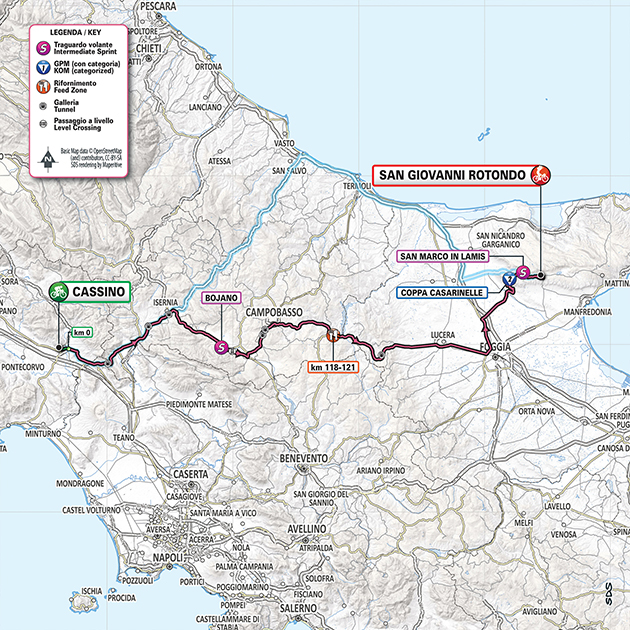Giro stage 6 map