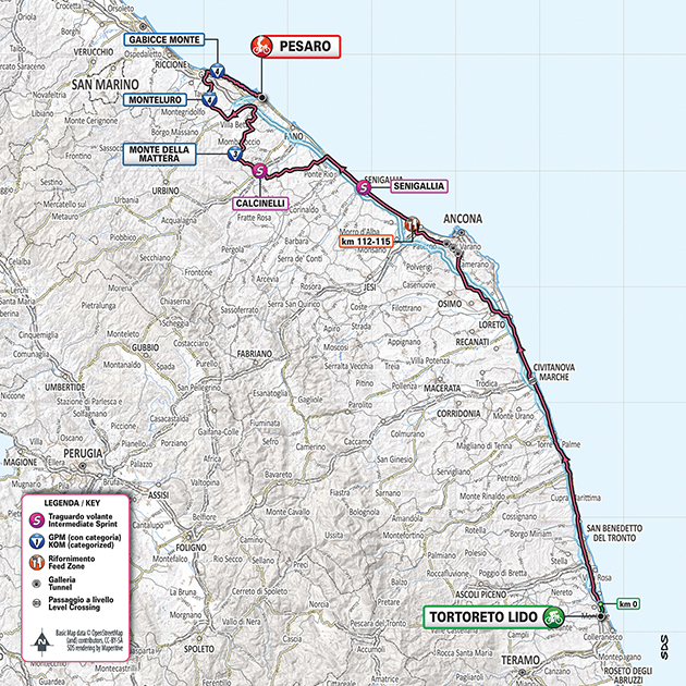 Giro stage 8 map