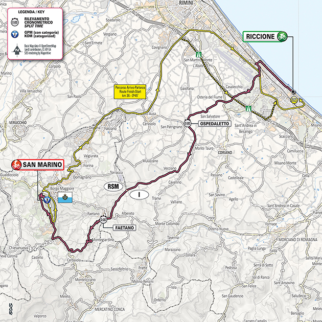 Giro stage 9 map
