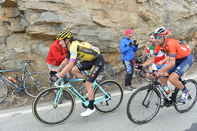 Primoz Roglic and Vincenzo Nibali