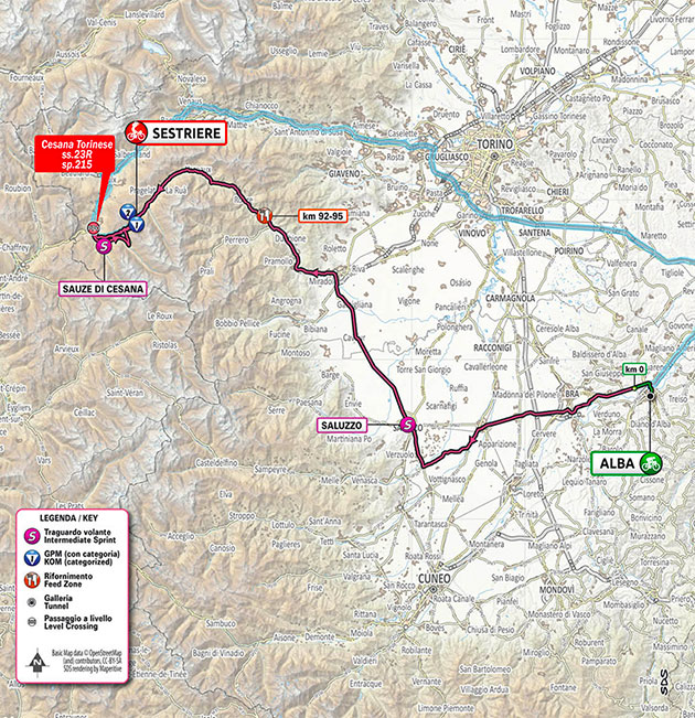 2020 Giro stage 20 map