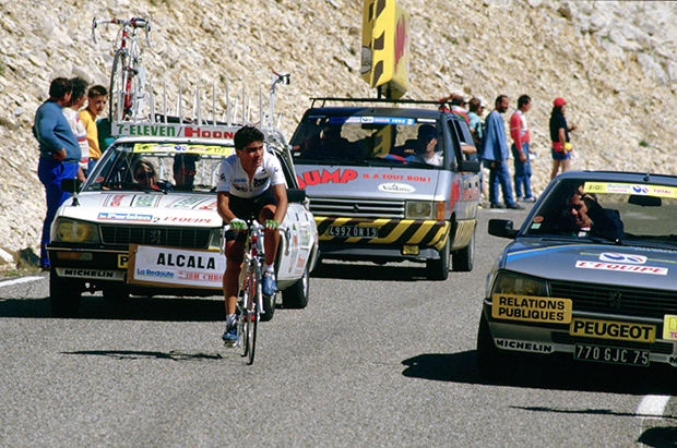 Raul Alcala climbs Mt.Ventoux in the 1987 Tour de France