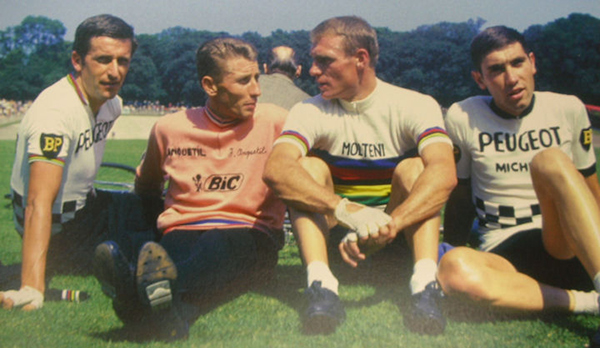Rudi ALtig with Som Simpson, HJacques Anquetil and Eddy Merckx
