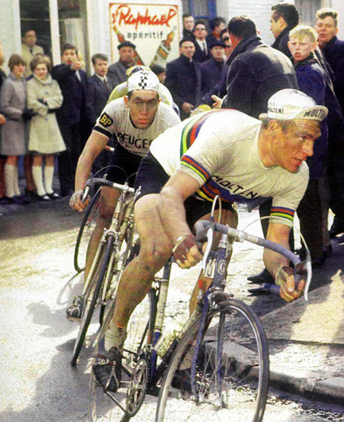 Rudi Altig and Eddy MErckx at the 1967 Paris-Roubaix