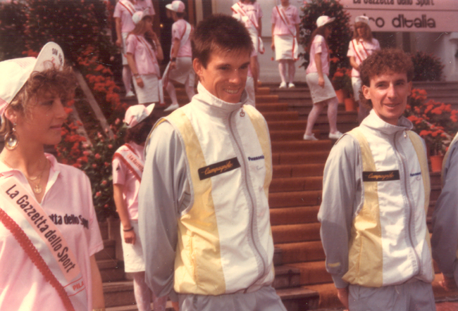 Anderson at the 1987 Giro teams presentation