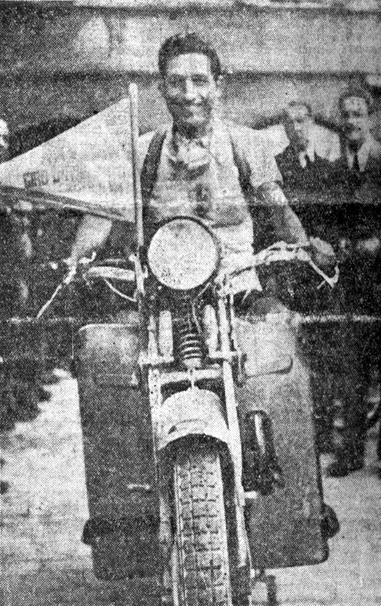 1937 Giro: Bartali in a motorcycle