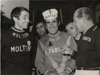 Gino Bartali with Franco Bitossi and Michele Dancelli